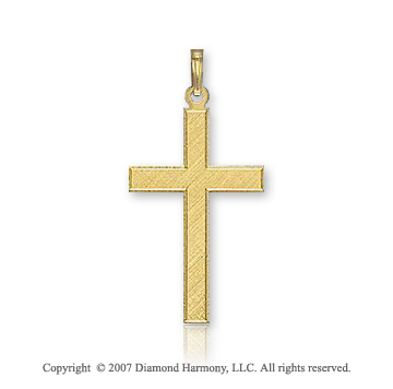 14k Yellow Goldold Divine Classic Plain Small Cross Pendant