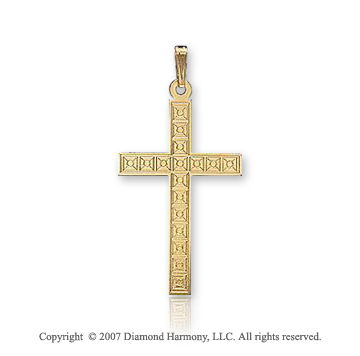14k Yellow Goldold Blessed Classic Carved Small Cross Pendant