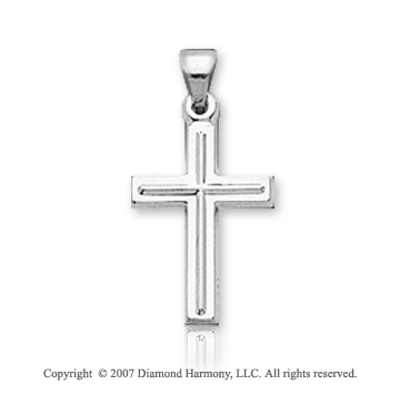 14k White Gold Classic Elegance Children's Cross Pendant