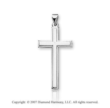 14k White Gold Blessed Classic Medium Cross Pendant