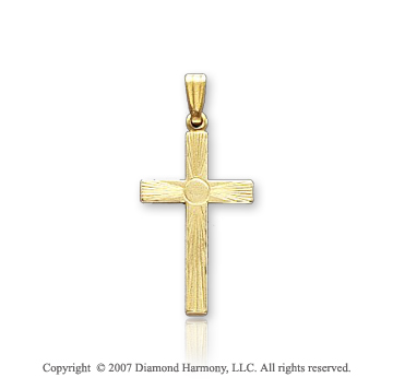 14k Yellow Goldold Classic Center Circle Carved Cross Pendant
