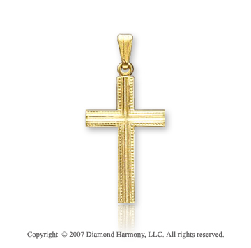 14k Yellow Gold Milgrain Carved Small Cross Pendant