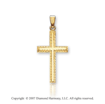 14k Yellow Goldold Classic Elegant Ornate Small Cross Pendant