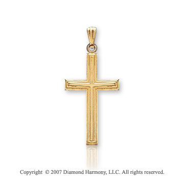 14k Yellow Goldold Classic Plain Carved Small Cross Pendant
