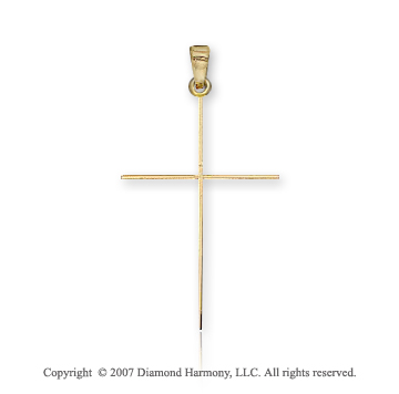 14k Yellow Gold Divine Classic Style Thin Cross Pendant