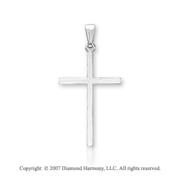 14k White Gold Blessed Classic Plain Small Cross Pendant