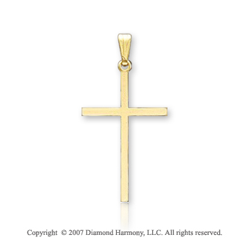 14k Yellow Goldold Blessed Classic Plain Small Cross Pendant
