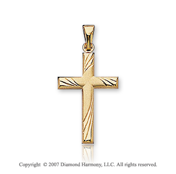 14k Yellow Goldold Classic Carved Edges Small Cross Pendant