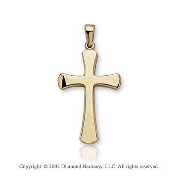 14k Yellow Goldold Classic Round Edges Small Cross Pendant