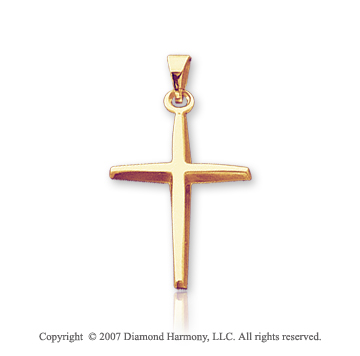 14k Yellow Goldold Classic Modern Style Small Cross Pendant