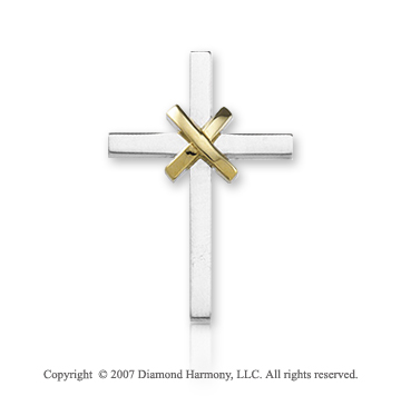 14k Two Tone Gold Stylish Small Fashion Cross Pendant