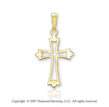 14k Yellow Gold Open Style Small Fashion Cross Pendant