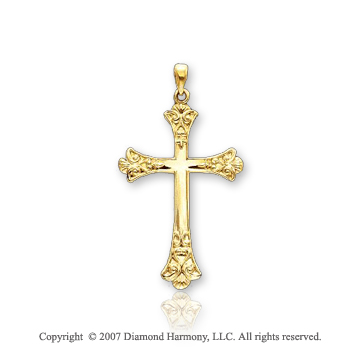 14k Yellow Gold Blessed Ornate Fashion Cross Pendant
