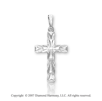 14k White Gold Heavenly Devotion Fashion Cross Pendant