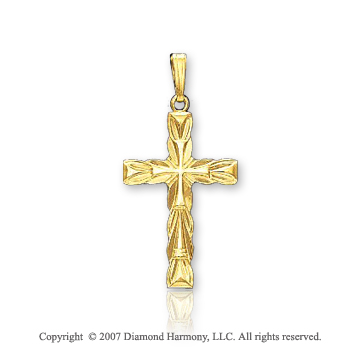 14k Yellow Gold Heavenly Devotion Fashion Cross Pendant