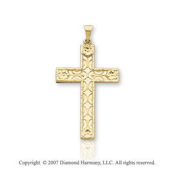 14k Yellow Gold Elegant Carved Fashion Cross Pendant