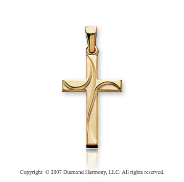 14k Yellow Goldold Stylish Curves Small Fashion Cross Pendant