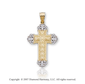 14k Two Tone Gold Ornate Carved Fashion Cross Pendant