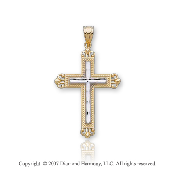 14k Two Tone Gold Milgrain Ornate Fashion Cross Pendant