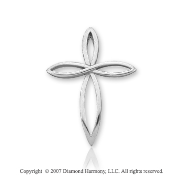 14k White Gold Elegant Petals Medium Fashion Cross Pendant