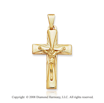 14k Yellow Gold Carved Crucifix Cross Pendant