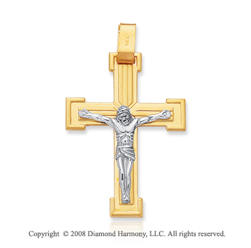 14k Two Tone Carved Crucifix Cross Pendant