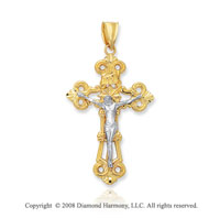 14k Two Tone Filigree Carved Crucifix Cross Pendant