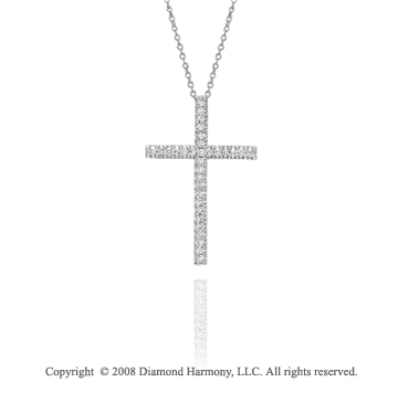 14k White Gold Simple 1/3 Carat Diamond Cross Pendant