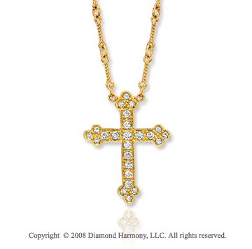 14k Yellow Gold Vintage Style 1/2 Carat Diamond Cross Pendant