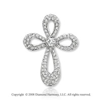 14k White Gold Elegant .60 Carat Diamond Cross Pendant