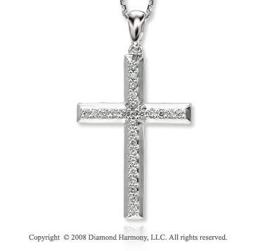 14k White Gold Simply Elegant Diamond Cross Pendant