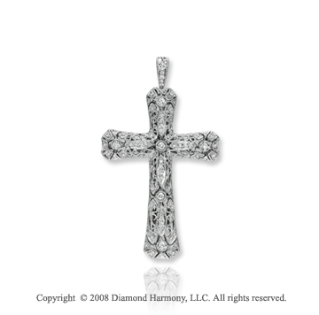 14k White Gold 0.65 Carat Diamond Vintage Style Cross Pendant