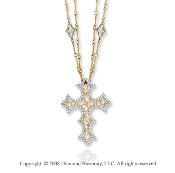 14k Two Tone Gold Unique 0.70 Carat Diamond Cross Pendant