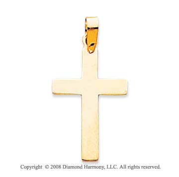 14k Yellow Gold Polished Square Tip Cross Pendant
