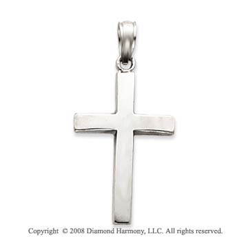 14k White Gold Polished Square Tip Cross Pendant