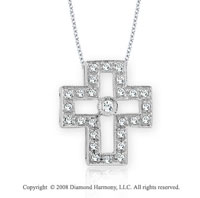 14k White Gold 1/4 Carat Diamond Cross Pendant