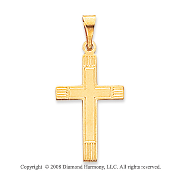 14k Yellow Gold Classic Carved Cross Pendant