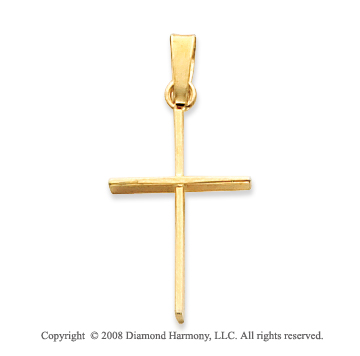 14k Yellow Gold Sleek Cross Pendant