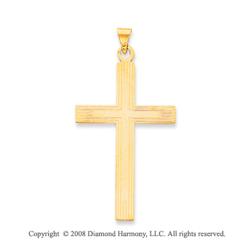 14k Yellow Gold Carved Cross Pendant
