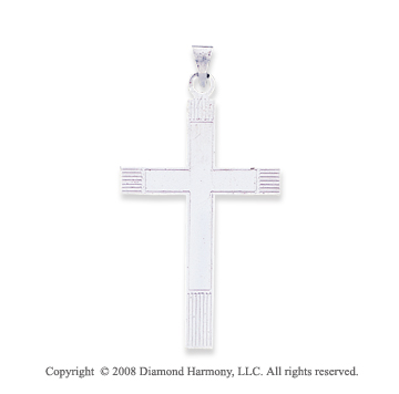 14k White Gold Carved Cross Pendant
