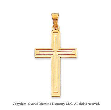 14k Yellow Gold Trendy Cross Pendant