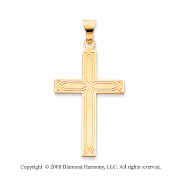 14k Yellow Gold Fashionable Cross Pendant