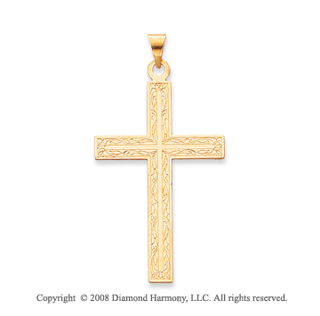 14k Yellow Gold Exquisite Cross Pendant