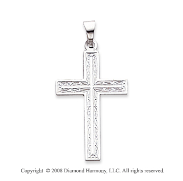 14k White Gold Exquisite Cross Pendant