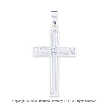 14k White Gold Carved Fashion Cross Pendant