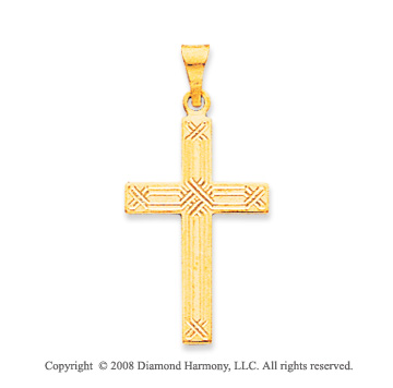 14k Yellow Gold Carved Fashion Cross Pendant