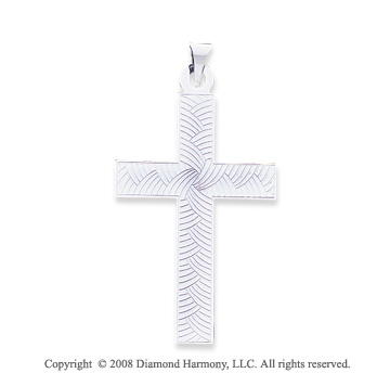 14k White Gold Unique Carved Cross Pendant