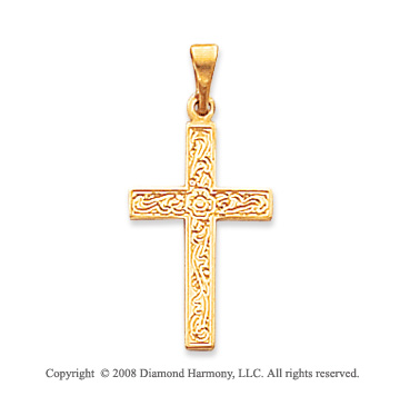 14k Yellow Gold Unique Floral Carved Cross Pendant
