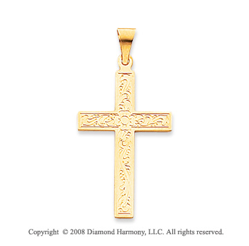 14k Yellow Gold Floral design Cross Pendant
