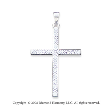 14k White Gold Unique Carved Large Cross Pendant